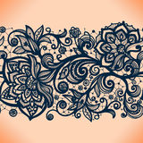 Abstract lace ribbon seamless pattern with elements flowers. Stock Photos