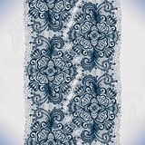 Abstract lace ribbon seamless pattern with elements flowers. Royalty Free Stock Photo