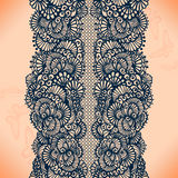 Abstract lace ribbon seamless pattern with elements flowers. Stock Images