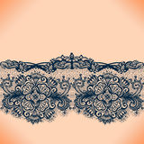 Abstract lace ribbon seamless pattern with elements flowers. Stock Photography