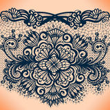 Abstract lace ribbon seamless pattern with elements flowers. Royalty Free Stock Image