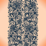 Abstract lace ribbon seamless pattern with elements flowers. Stock Photo