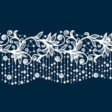 Abstract lace ribbon seamless pattern with elements flowers. Royalty Free Stock Images