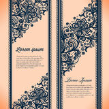 Abstract Lace Ribbon Vertical banners. Royalty Free Stock Photos
