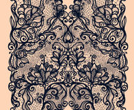 Abstract lace ribbon vertical seamless pattern. Template frame design for card. Lace Doily. Can be used for packaging, invitations, and template stock illustration