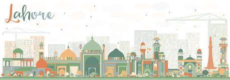 Abstract Lahore Skyline with Color Landmarks. Stock Photos