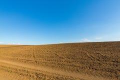 Abstract landelijk landschap in de lente, met oneindige horizon, heldere kleuren, langs natuurlijk meer met rietinstallaties Royalty-vrije Stock Afbeeldingen