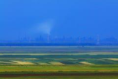 Abstract landelijk landschap en industriële achtergrond Royalty-vrije Stock Afbeeldingen