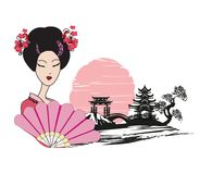 Abstract landscape with Asian girl. Vector Illustration Royalty Free Stock Image