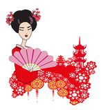 Abstract landscape with Asian girl vector illustration