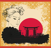 Abstract landscape with Asian girl Royalty Free Stock Photography