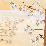 Abstract landscape with blooming cherry, birds,sky in pastel sepia colors Royalty Free Stock Photo