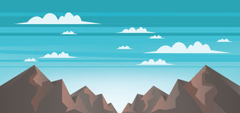 Abstract landscape with brown mountains, white clouds and blue skies Stock Images