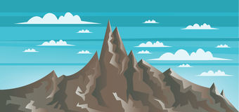 Abstract landscape with brown mountains, white clouds and blue skies Stock Photos