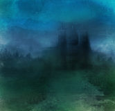 Abstract landscape with castle Royalty Free Stock Image