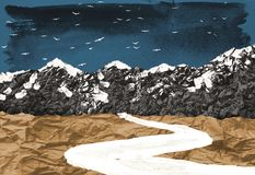 Abstract landscape collage made of cut out pieces of different peper stock image