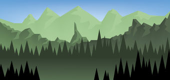 Abstract landscape with a dark forest and green fields with mountains. Digital vector image Royalty Free Stock Photography