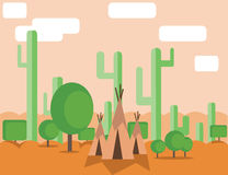 Abstract landscape design with green cactus trees, clouds and indian tents in the desert, flat style. Digital vector image Stock Photos