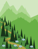 Abstract landscape design with green pine, hills and fog, sheeps on fields, flat style Royalty Free Stock Image