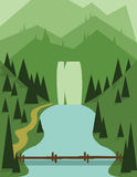 Abstract landscape design with green trees, a bridge and flowing river, view to mountains, flat style. Digital vector image Stock Photo