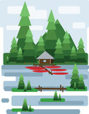 Abstract landscape design with green trees and clouds, a house and a boats on a lake, flat style Royalty Free Stock Photography