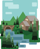 Abstract landscape design with green trees and clouds, a house and a bridge near a lake, flat style vector illustration
