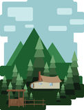 Abstract landscape design with green trees and clouds, a house in the forest, flat style. Stock Photos