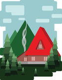Abstract landscape design with green trees and clouds, a red house with smoke, flat style Stock Photography
