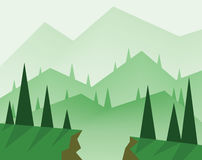 Abstract landscape design with green trees, hills, fog and a chasm, flat style stock illustration
