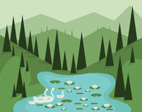 Abstract landscape design with green trees, hills and fog, geese swimming in a lake with waterlilies, flat style vector illustration