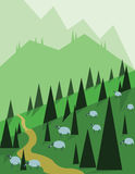 Abstract landscape design with green trees, hills and fog, sheeps on fields, flat style Stock Image