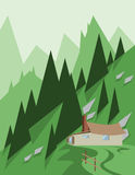 Abstract landscape design with green trees and hills, a house in the mountains, flat style Stock Photos