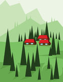 Abstract landscape design with green trees and hills, red houses in the mountains, flat style Stock Photography