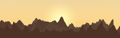 Abstract landscape design with mountains and rising sun Vector image Stock Photo