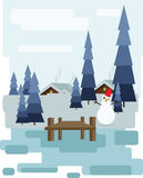 Abstract landscape design with white trees and clouds, a house with smoke, a happy snowman, snowing in a forest in winter, flat st Royalty Free Stock Photo