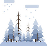 Abstract landscape design with white trees and clouds, snowing in a forest in winter, flat style Royalty Free Stock Photography