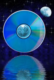 Abstract landscape with earth and compact disk Stock Photos