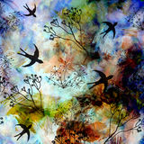 Abstract landscape with flying swallows in blue sky on grunge s Royalty Free Stock Photo