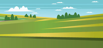Abstract landscape with green fields, trees and clouds. Digital vector image Royalty Free Stock Photography