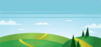 Abstract landscape with green fields, trees, paths and clouds. Digital vector image Royalty Free Stock Photos