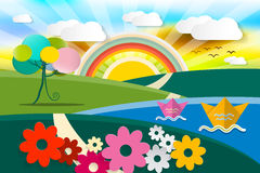 Abstract Landscape Illustration. Vector Spring - Summer - Autumn Fairy Tale Nature Scene. Cartoon with Flowers, Paper Boats, Tree and Sun with Rainbow Royalty Free Stock Photos