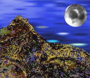 Abstract landscape with the moon and sea. Planetary landscape with a view on a celestial body nearing the planet Royalty Free Stock Image