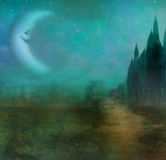 Abstract landscape with old castle and smiling moon Stock Photography