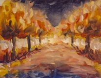 Abstract landscape orange night park alley. Forest wood oil painting. Expressionism trees in night stock illustration