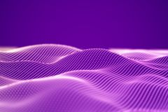 Abstract landscape of Pink digital particles or sound waves. stock illustration