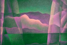 Abstract Landscape Pink and Green 13, Digital Art by Afonso Farias and Denilson Bedin. Abstract Landscape Pink and Green 13, illustration effect, Digital Art by royalty free illustration
