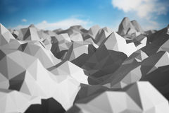 Abstract landscape. Of polygonal mesh with elements in focus. 3D illustration Royalty Free Stock Image