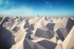 Abstract landscape. Of polygonal mesh with elements in focus. 3D illustration Royalty Free Stock Photos