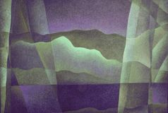 Abstract Landscape Purple and Green 14, Digital Art by Afonso Farias and Denilson Bedin. Abstract Landscape Purple and Green 14, illustration effect, Digital Art royalty free illustration
