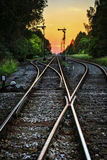 Abstract landscape with railway track. Royalty Free Stock Photo